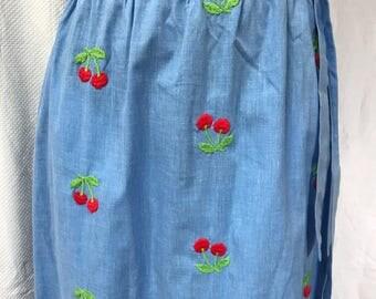 "Vintage 70s Embroidery Cherries  Maxi Skirt 27"" Waist"