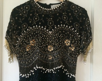 Fully Beaded and Embellished Black and Gold Cocktail Dress - Size Small