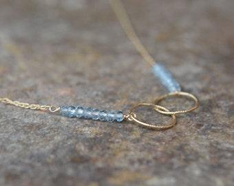Aquamarine Gold Necklace March Birthstone