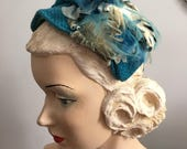 RESERVED Vintage 1950s Aqua Turquoise Fabric Millinery Floral Velvet Leaves and Feathers Roberta Hat
