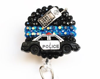 Thin Blue Line ID Badge Reel - Retractable ID Badge Holder - Zipperedheart