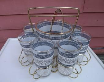 Mid Century Janette Hellenistic Roman Corinthian Greek Key Glass Highball Bar Set in Rack with Ice Bucket