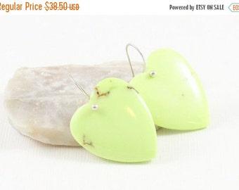 Lemon Jade Gemstone . Sterling Silver Dangle Drop Earrings . Light Chartreuse Yellow Green . E16124