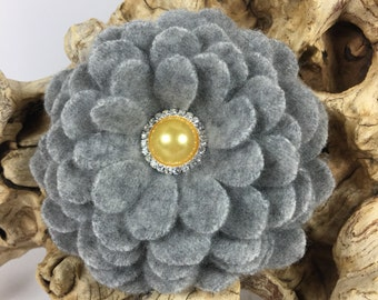Gray Cashmere Flower Brooch Pin with Yellow Pearl Rhinestone Center
