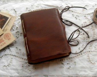 Observations Series 2 - Toffee Brown Leather Journal, Tea Stained Pages - OOAK