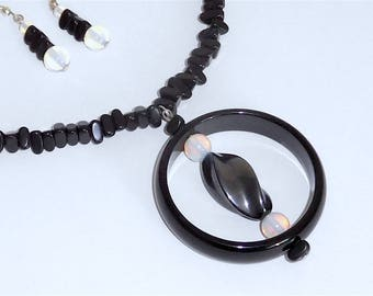 Black & Opalite 20 Inch Necklace with Earrings Set (Item Z66)