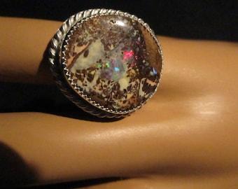 Boulder Opal Ring Sterling Silver