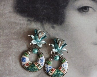 Portugal Antique Azulejo Tile ART NOUVEAU Earrings with vintage clip on LiLIES with rhinestones - Aveiro and Lisbon -  OOAK