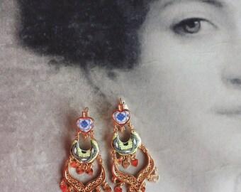 Chandelier Earrings Antique Azulejo Tile Replicas, Green Blue - (see photo of actual Facade) - Ovar