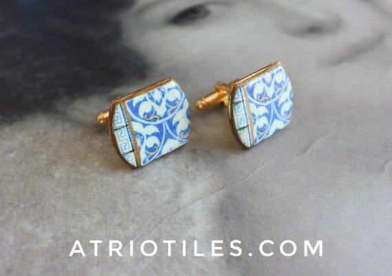 Cuff Links Art Nouveau Art Deco Portugal Blue AZULEJO  Antique Tile Replicas - Ovar (see photo of actual facade) Men Man gift Box Included