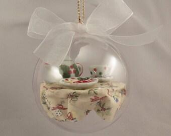 Miniature Tea Party Christmas Ornament with Porcelain Tea Set and Christmas Cookies