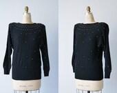 Vintage 1980s Black Rhinestone Studded Dolman Sweater / Slouchy Angora  Knit Sweater / Disco / Stars