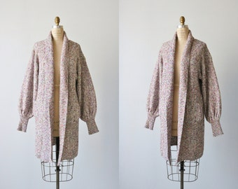 Vintage 1980s Long Oversized Slouchy Sweater / Sweater Coat  / 1980s Sweater / Speckled