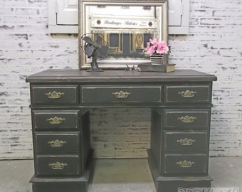 Kneehole Desk, Distressed Black Cottage Style -DK201- Shabby Vintage Farmhouse Chic, French Country