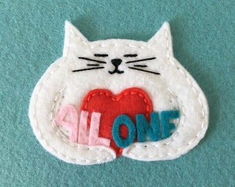 All One embroidery hoop, wall decor, gentle protest wall hanging, hugging cat, engaged art, cute cat love, OOAK - HibouDesigns