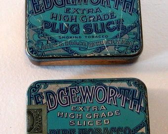 2 Vintage EDGEWORTH TOBACCO TINS Sliced Plug Smoking Pipe Larus & Bro. Empty Collectibles Assemblage Altered Art