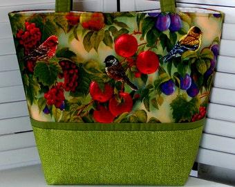 BIRD Sanctuary TOTE BAG Purse Wild Wings Cotton Print Rosemary Millette Realistic Birds Fruit Medium Shoulder Purse/Diaper Bag
