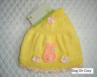 Appliqued Dog Sweater, Pet Top, Hand Knit Sweater for Dog, Size XSMALL, Mini Sweater Dress with Appliqued Bunny