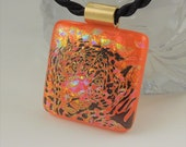 Leopard Necklace - Dichroic Fused Glass Pendant - Fused Glass - Dichroic Glass - Animal Print - Wild Life - African - 22K Gold X8339