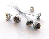 Bell Flower Lampwork Headpin Bundle Set of 6 SRA Black and Ivory - #161