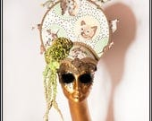 Kitten Crown... Earthy Cat Themed Hat with Cat Figurines and Painted Accents