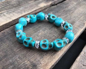 Skull Turquoise Howlite and Crystal Stretch Bracelet