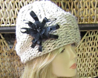 Tweed Cloche Adult Hand Knit Hat with Removable Black Flower Ready to Ship