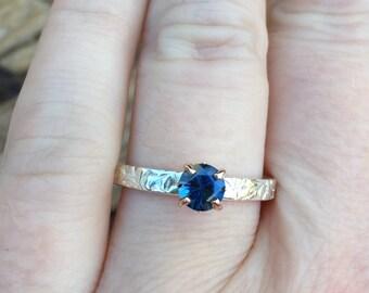 blue sapphire engagement ring . alternative engagement ring . prong set Australian  sapphire ring by peacesofindigo . ready to ship size 8