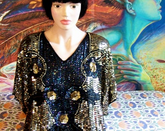 NWT, Beaded blouse, Sequin Blouse, Deadstock, SILK Holiday Top, Black + Gold, formal top, size M
