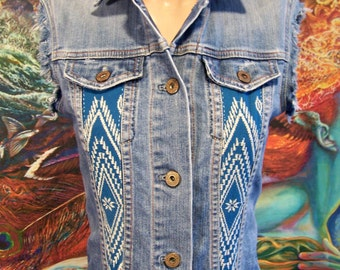 Denim Vest, Embroidered vest, Boho vest, Blue denim, Up-cycle, Summer Denim, Gypsy Denim, size XS/S