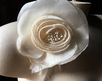 Ivory Camellia Silk Rose for Bridal, Hats, Corsages MF100