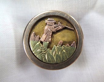 Antique Stud Button Rose and Yellow Gold Filled  with Hunting Theme by Acme Pat. Aug. 24 1880