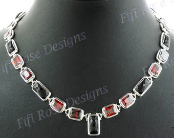 """17 1/2"""" Brilliant 40ct Red Garnet 45ct Onyx 925 Sterling Silver Necklace"""