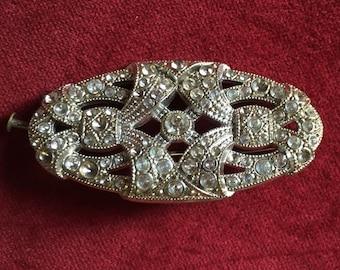 Antique french art deco rhinestone oval brooch