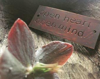 open heart open mind - copper passages plaque