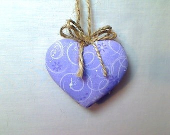 Lavender Heart Ornament | Valentines Day | Spring Decor | Party Favor | Birthday | Tree Ornament | Holidays | Decoration | Handmade | #3