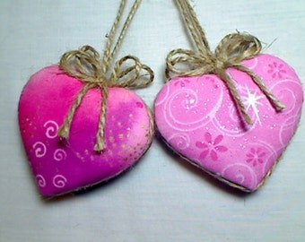 Pink Heart Ornaments | Home Decor | Party Favor | Wedding Bridal | Holidays | Tree Ornament | Valentines Day | Handmade Gift |  Set/ |  #4