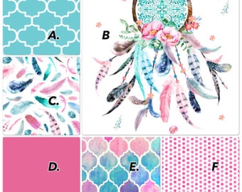 Baby Girl Baby Bedding Crib Set Pink Aqua Teal Dreamcatcher Feathers