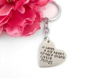 teacher gift - teacher's day gift - it takes a big heart to help shape little minds key chain - bag charm key chain - heart keychain