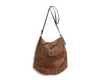 Suede Fringed Boho Bag in Beige. Small Shoulder Bag. Leather Bag. Women's Bohemian Bag. Hippie Shoulder Bag. Festival Wear. Bag from Greece