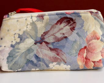 Blue, Rose, and White Zippered Ditty Bag