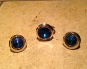 NEW Cobalt Blue Silvertone Ring and Earrings Set by Sarah Coventry