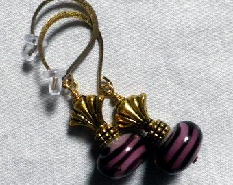 lampwork Glass Earrings, Purple and gold