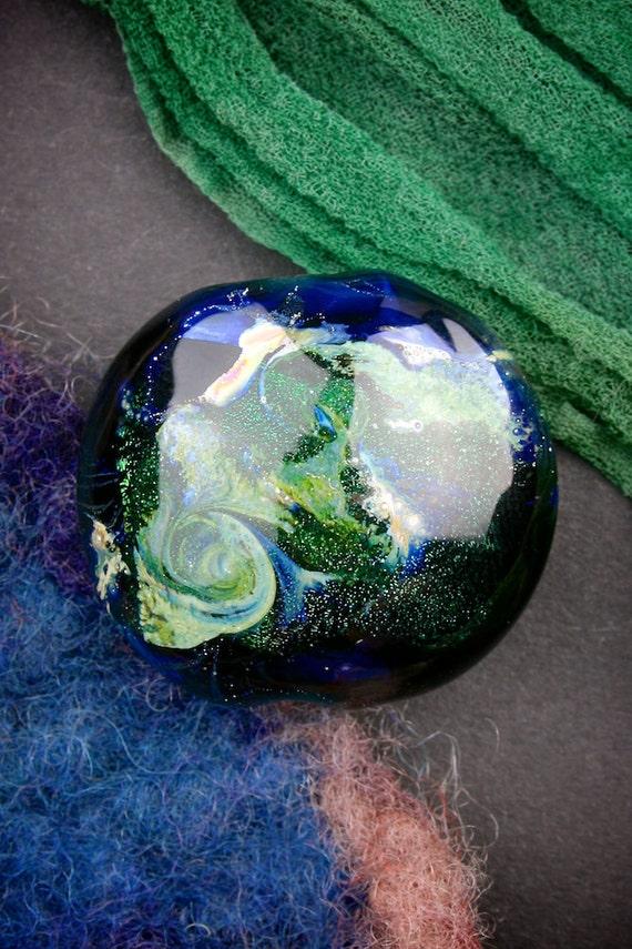 "SRA Lampwork Beads ""Ceres"" Handmade Dichroic Glass Focal Bead Lentil Fine Silver Lustre"
