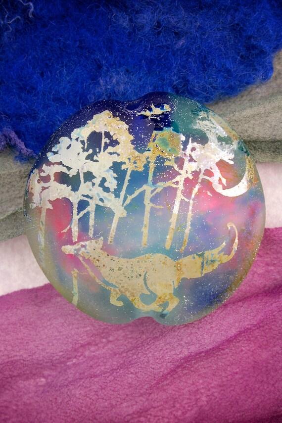 "SRA Lampwork Beads ""Forest Fox"" Handmade Focal Lentil, Dichroic Sandblasted Glass and Fine Silver Lustre"