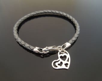3mm Metallic Grey Braided Leather Bracelet With 925 Sterling Silver Hammered Heart Charm