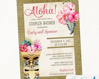 Luau Bridal Shower Invitation-Hawaiian Bridal Shower-Luau Birthday Invitation-Luau Baby Shower Invitation-Engagement Party-Couples Shower