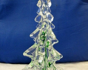 Vintage Clear Green Swirls Blown Murano Style Glass Christmas Tree Sculpture Figurine Table Decoration