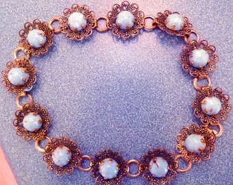 1960s filigree and blue stone choker - charity for cats and kittens