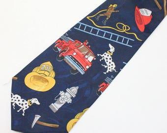 """90's Firefighter Fireman Tie / Wide Necktie / A Rogers / 4"""" wide"""